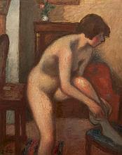 Georges d'ESPAGNAT (1870-1950) Modèle nu aux bas Huile sur toile signée en bas à gauche des initiales 101 × 81 cm (Rentoilée)