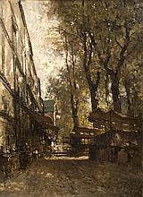 Attribué à Eugène CICERI (1813-1890) Echoppes Huile sur toile portant une signature en bas à gauche 61 × 44 cm (Craquelures)