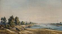 Gaspard GOBAUT (1814-1882) Lavandières sur un pont au-dessus de la Loire Aquarelle sur papier signé, situé et daté 1875 en bas à dro...
