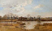 Pierre Emmanuel DAMOYE (1847-1916) Chaumière près d'une mare Huile sur toile signée et datée 88 en bas à droite 44 × 72 cm (Rentoila..