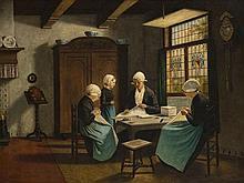 D'après David ARTZ (1837-1890) Scène d'intérieur, les couturières Huile sur toile signée en bas à gauche 79 × 102 cm Etiquette d'exp