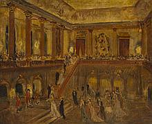 École MODERNE L'arrivée à l'Opéra Huile sur toile 54 × 65 cm (Rentoilée)