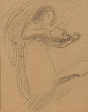 Eugène CARRIERE (1849-1906) Femme au violon Dessin au fusain sur papier ligné 21,5 × 17 cm