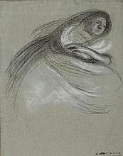 Eugène CARRIERE (1849-1906) Femme couchée Dessin au fusain et à la craie blanche, porte le cachet de la signature en bas à droite. A...