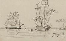 Johann Bartold JONGKIND (1819-1891) Voiliers Dessin au fusain, porte le cachet de la signature en bas à droite 14,7 × 23,2 c...