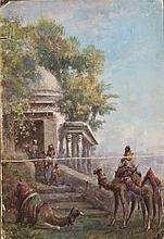 Paul PASCAL (1832-1903) La Halte à la Fontaine Gouache, signé en bas à gauche et daté 1888 45,5 × 31,5 cm (Traces de plis, déchirure...