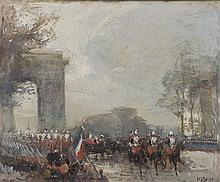 Eugène-Louis GILLOT (1867/68-1925) Le défilé du 14 Juillet sur l'avenue des Champs Elysées Gouache sur papier signé en bas à droite ..