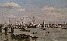 Edmond Marie PETITJEAN (1844-1925) Le port de Trouville Huile sur panneau signé en bas à gauche 28,5 × 46,5 cm