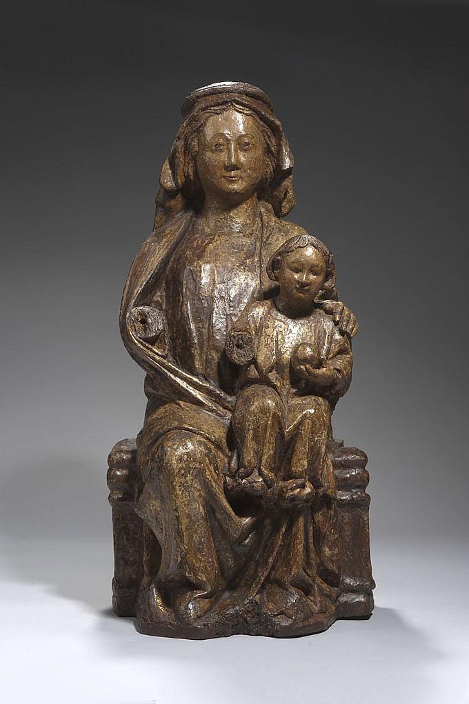 Belle Vierge à l'Enfant assise en bois sculpté, polychromé avec restes de dorure