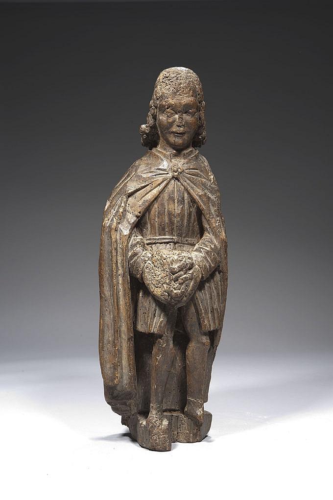 Saint Sébastien en chêne sculpté en ronde-bosse, polychromé et doré