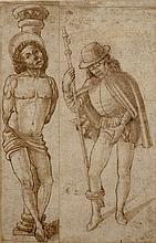 Suiveur de Maso FINIGUERRA (1426-1464) Saint Sébastien et saint Roch Lavis brun 17 × 11 cm sur plusieurs feuilles assembléesR...