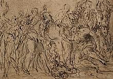 Entourage de Giovanni CONTARINI (1549-Circa 1604) Le Christ guérissant le paralytique Plume et encre brune sur traits de crayon noir...