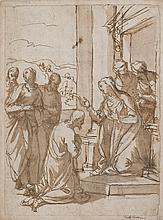 Alessandro MAGANZA (1556-1630) Le Christ recevant la bénédiction de la Vierge