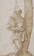 École du NORD du XVIIe siècle Joueur de cornemuse, d'après Dürer Plume et encre brune 12 × 7,5 cm Monogramme rapporté de Dürer en ba...