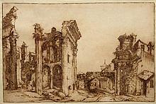 Attribué à Paul BRILL (1554-1626) Vue de l'ancien forum de Nerva à Rome Plume et encre brune, lavis brun 21 × 32, 3 cm Annoté P