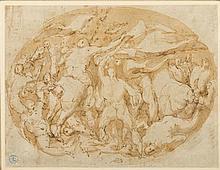 Entourage de Cesare POLLINO (1560-1630) Scène de bataille Plume et encre brune sur traits de crayon noir, lavis sépia 16,6 × 22,3 cm...