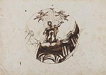 École ITALIENNE vers 1600 Projet de décoration de la coupole d'un plafond