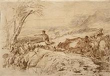 D'après Giovanni Benedetto CASTIGLIONE (1609-1664) Le voyage de Jacob Pinceau, lavis brun, aquarelle 32 × 46 cm (Pliures) Provenance...