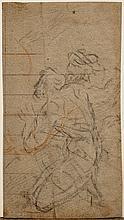 Attribué à Pier Francesco MOLA (1612-1666) Étude d'hommes agenouillés Crayon noir et sanguine 20 × 11 cm (Pliure) Provenance : ancie..
