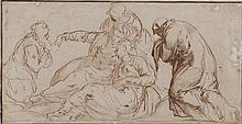 École ITALIENNE du XVIIe siècle Les trois Marie, d'après Tintoretto Plume et encre brune, lavis brun 14,5 × 28 cm (Manques, doublé, ..