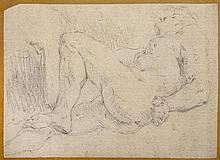 École BOLONAISE du XVIIe siècle Académie d'homme à genoux Crayon noir 20 × 14 cm Annotation au verso (Doublé, piqûres, restauration)...