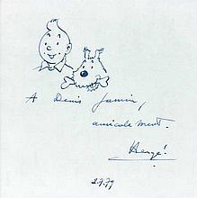Dessin original à l'encre bleue représentant Tintin et Milou en buste accompagné d'une dédicace (avec cadre : 32,5 x 32,5 cm) :