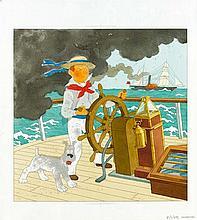 La Marine. Mise en couleur originale (avec cadre : 41 x 31 cm)pour la couverture inédite de l'album de chromos