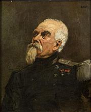 Isidore Alexandre Augustin PILS (Paris 1813- Douarnenez 1875) Portrait de militaire Sur sa toile d'origine 45,5 x 39 cm En haut à dr..