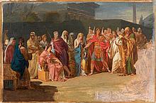 Jérôme Martin LANGLOIS (Paris 1779-1838) Scène de l'Histoire Romaine Huile sur trait de crayon sur papier contrecollé sur toile 28 x..