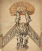 Attribué à Hendrick Frans VERBRUGGHEN (Anvers 1654-1724) Projet de chair pour l'église Saint Augustin d'Anvers Plume et encre brune .