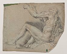 Attribué à Paris BORDONE (Trévise 1500-Venise 1571) Etude d'homme nu assis de profil Crayon noir et rehauts de craie blanche sur pap..