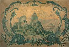 Dans le goût du XVIIIe siècle Chinoiserie Huile en camaïeu sur papier 35,5×50,5 cm (Coulures, taches, déchirures et manque)