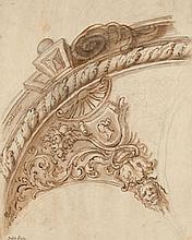 École GENOISE du XVIIe siècle Projet de stuc Plume et encre brune sur traits de crayon noir et lavis brun 38×29,5 cm Annoté en bas à...