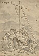 Attribué à Domenico PARODI (Gênes 1668-Gênes 1740) La Descente de croix Plume et encre brune, lavis gris 36,5×26, 5 cm (Piqûres) Num...