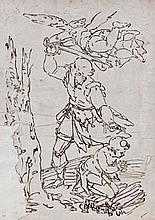 Attribué à Giovanni Battista PAGGI (Gênes 1554-1627) Le sacrifice d'Isaac Plume et encre brune 33,5×23,5 cm Annoté en bas à gauche s..