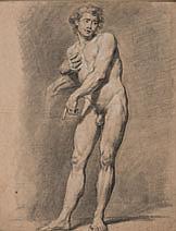 Anicet-Charles-Gabriel LEMONNIER (Rouen 1743-Paris 1824) Académie d'homme Crayon noir, estompe et rehauts de craie blanche 51×40 cm ..