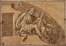 Attribué à Paolo FARINATI (1524-1606) Allégorie de Janus et de l'abondance Plume, encre brune, lavis de sanguine, lavis brun et reha..