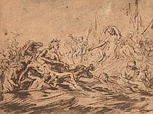 Attribué à Cornelis SCHUT (Anvers 1597-Borgerhout 1655) Naufragés présentés à Amphitrite Plume et encre brune 23,5×31 cm (Mauvais ét...