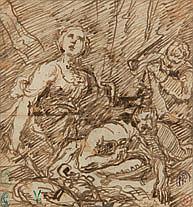 École ITALIENNE du XVIIe siècle Judith et Holopherne Plume et encre brune 13,5 × 12,5 cm Porte 5 cachets de collection dont celui de...