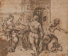 École ITALIENNE du XVIe siècle  Salomé recevant la tête de Jean-Baptiste, d'après une gravure Plume et encre brune, sur traits de cr..