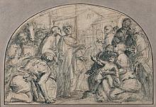 Pietro SORRI (San Gusmé 1556-1621/1622) Saint Paul et saint Barnabé à Istres Crayon noir et lavis d'indigo 34,5×50,7 cm format en de..
