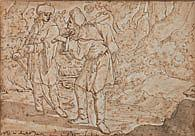 École de l'EST vers 1600 Deux voyageurs Plume et encre brune, lavis brun 13,5×20 cm Annotations peu lisibles en latin dans le bas (R..
