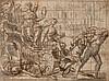 École ITALIENNE du XVIIe siècle Le char de la Foi éternelle foulant la Mort, tiré par l'Hérésie et le Temps Plume et encre brune, la...