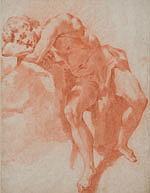 École ITALIENNE du XVIIe siècle Jeune homme endormi Sanguine estompe 35,4 × 26,7 cm (Petites taches)