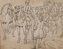 Adam Frans VAN DER MEULEN (Bruxelles 1632-Paris 1690) et son atelier Etude d'un groupe de cavaliers Contre-épreuve de pierre noire r..