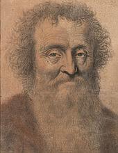 Nicolas LAGNEAU (actif au XVIIe siècle) Portrait d'homme barbu Pierre noire, sanguine, estompe 33×25 cm (Quelques rousseurs et trace..