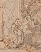 École FRANÇAISE du XVIIe siècle  Scène allégorique avec un empereur et un ange Plume et encre brune lavis gris sur traits de crayon ...