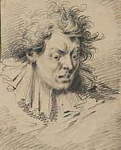 École FRANÇAISE du XVIIIe siècle Portrait d'homme effrayé Crayon noir 25,2×20,5 cm (Dessin doublé, petites taches)