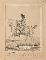 AUVREST (Actif en France au XVIIIe siècle) Frédérique II roi de Prusse Dessin calligraphique 29,5×23 cm Annoté en bas à droite a la ...
