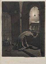 Jean-Paul LAURENS (Fourquevaux 1838-Paris 1921) Une paire : la crypte et Mérovic en prière Plume et encre noire, lavis gris sur trai...